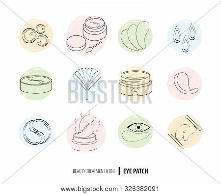 Beauty Cosmetics Line Art Icon Set. Collagen Eye Patches In Vector. Korean Cosmetics. Icons Patch Fo