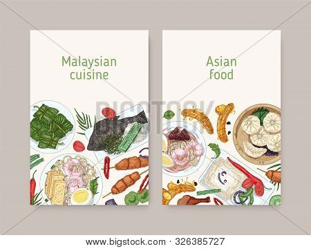 Malaysian Cuisine Vector Poster Templates. Asian Traditional Food Realistic Hand Drawn Backgrounds.