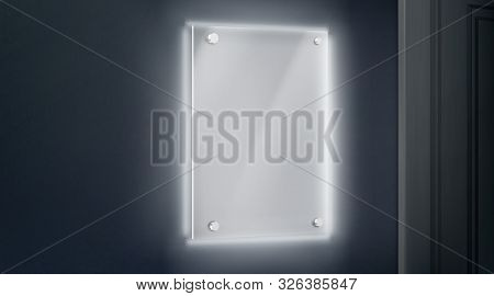 Empty Glass Name Plate Bolted To Wall Near Doorway Glowing In Darkness. Blank Acrylic Holder, Pictur