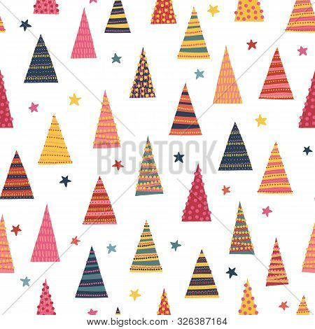 Abstract Colorful Christmas Trees Seamless Vector Background. Decorative Hand Drawn Repeating Winter