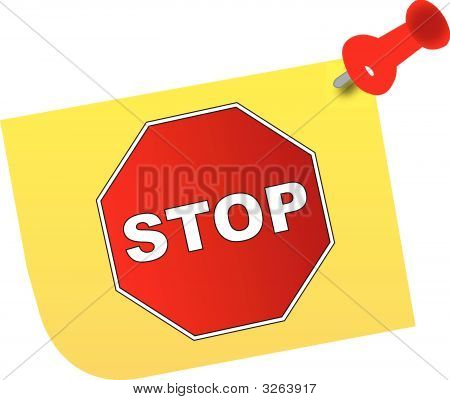 Thumb Tacked Note 2 W Stop Sign