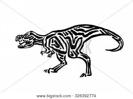 Ancient Extinct Jurassic T-rex Dinosaur Vector Illustration Ink Painted, Hand Drawn Grunge Prehistor