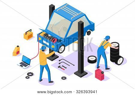3d Isometric Man With Repair Equipment On Car Service. Concept Isolated Businessman With Support Veh