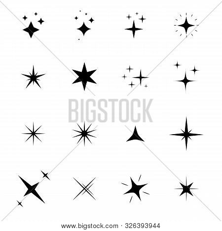 Set Of Sparkle Icon On White Background. Flat Style. Stars Sparkles Icon For Your Web Site Design, L