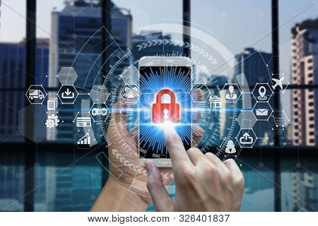 Businessman Touch Smart Phone Network Using Padlock Icon Technology With Virtual Screen Icons, Busin