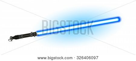 Fantasy Weapon Blue Light Laser Beam Sword Vector. Futuristic Space Shiny Glowing Sword For Battle.