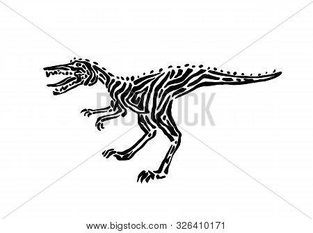Ancient Extinct Jurassic Velociraptor Dinosaur Vector Illustration Ink Painted, Hand Drawn Grunge Pr