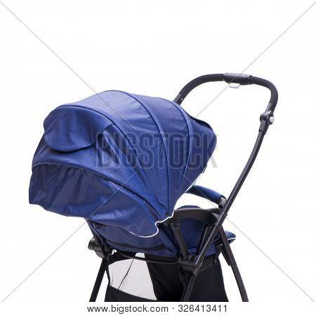 The blue pushchair isolated on white background