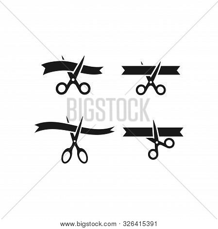 Scissors Cutting Ribbon Simple Black Vector Icon Set. Grand Opening, Inauguration Symbol Set.