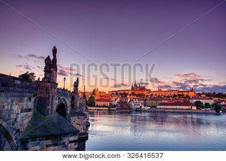 Scenic View On Vltava River And Historical Center Of Prague, Buildings And Landmarks Of Old Town, Pr