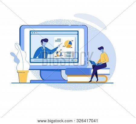 Man Watching Online Course On Laptop. Coach Teaching Financial Literacy, Target Marketing, Increase