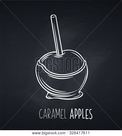 Vector Hand Drawn Apple In Caramel Or Toffee, Blackboard. Halloween Sweets For Street Food Cafe. Car