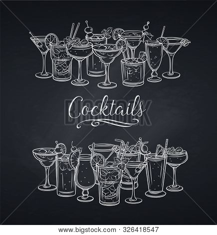 Alcoholic Cocklails Banner, Chalkboard. Summer Beach Alcoholic Drinks. Engraving Holiday And Beach P