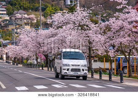 Nagano, Japan - April 19, 2019 : View Of The Main Road Of Nagano City With Cherry Blossom, Nagano Is