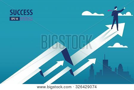 Business Arrow Concept With Businessman On Arrow Flying To Success. Grow Chart Up Increase Profit Sa