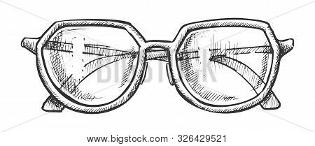 Glasses For Reading Accessory Monochrome Vector. Woman Diopter Optical Glasses For Myopia. Spectacle