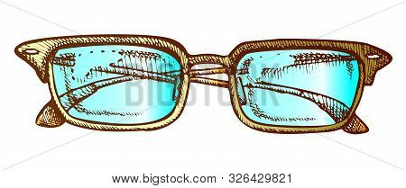 Glasses Corrective Vision Accessory Color Vector. Men Optical Diopter Glasses For Reading And Good E