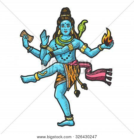 Shiva Mahadeva Hinduism Indian God Sketch Engraving Vector Illustration. Scratch Board Style Imitati