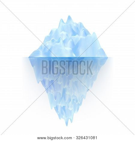 Glacier Ice Rock Floating On Water Waves Vector. Icy Glacier Arctic Mountain With Underwater Part An