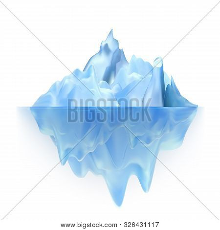 Glacier Floating On Antarctic Water Waves Vector. Cool Glacier Berg With Underwater Part And Icecap.