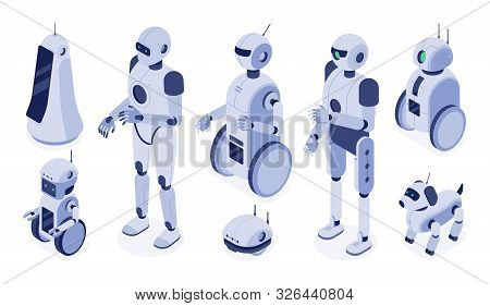 Isometric robots. Digital robotic machines, futuristic android development and 3d robot character. Scientist robot intelligence develop, helpig friend ai. Isolated vector illustration icons set poster