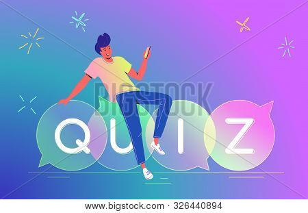 Man Playing Quiz With Smartphone Mobile App Concept Vector Illustration Of Teenager Sitting On Speec