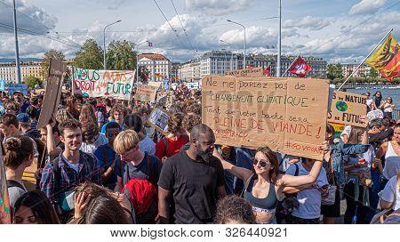Geneva, Switzerland - September 22 2019: Protest Demonstrators Take Part In The Global March For Cli