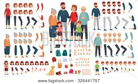 Cartoon Family Creation Kit. Parents, Children And Grandparents Characters Constructor. Big Family,