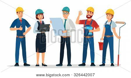 Technician Workers And Engineers Team. Technicians People Group, Engineering Worker And Construction