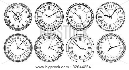 Vintage Clock Face. Retro Clocks Watchface With Roman Numerals, Ornate Watch And Antic Watches Desig