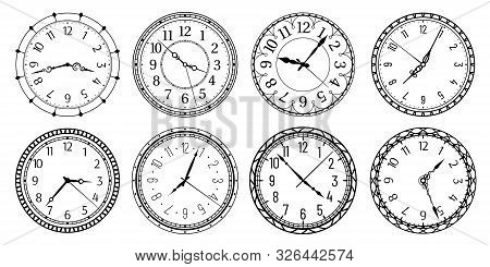 Vintage Round Clock Face. Antique Clocks With Arabic Numerals, Retro Watchface And Antic Watches. El