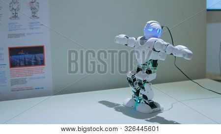 Moscow, Russia - July 30, 2018: Robostation - Future Exhibition. Humanoid Robot Dancing At Technolog
