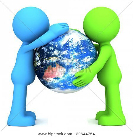 3D human characters hollding planet earth isolated on white. Elements of this image furnished by NASA.