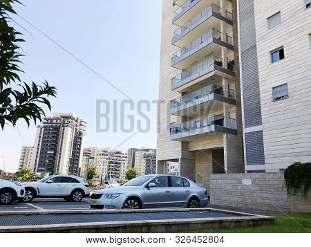 Rishon Le Zion, Israel  October 07, 2019: Residential Buildings And Cars   In Rishon Le Zion, Israel