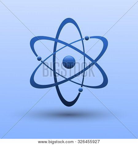 Atom Icon In Flat Design. Molecule Symbol Or Atom Symbol . Vector Illustration.