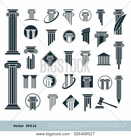Set Column Pillar Icon For Legal, Attorney, Law Office Logo Vector Template Illustration Design. Vec