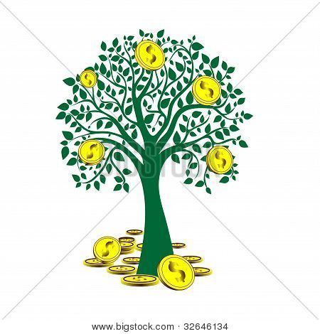 Basic RGBmoney tree isolated on White background.