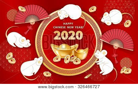 White Metal Rat Is A Symbol Of 2020 Chinese New Year. Banner With Cute Mice, Realistic Gold Ingots Y