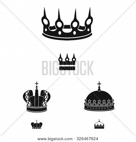 Vector Design Of King And Majestic Symbol. Collection Of King And Gold Stock Symbol For Web.