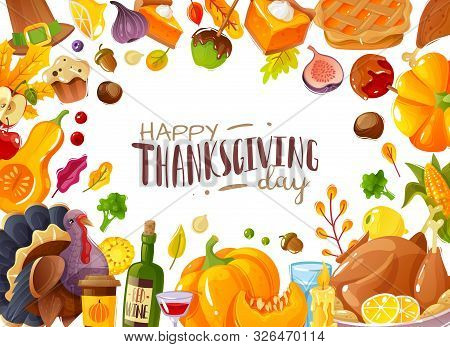 Thanksgiving Day Frame Illustration. Frame Illustration Cartoon Style On The Theme Of Thanksgiving A