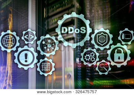 DDoS Cyber Attack. Technology, Internet and Protection Network concept. Server datacenter background. poster