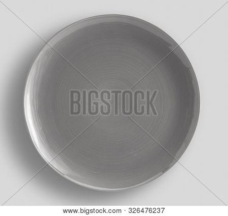Dark Gray Swirl Melamine Plate With Light Gray Background