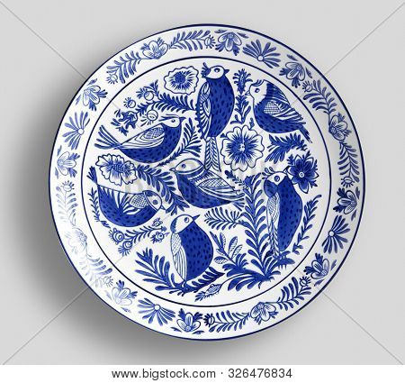 Decorative Plate With Round Ornament In Ethnic Style.