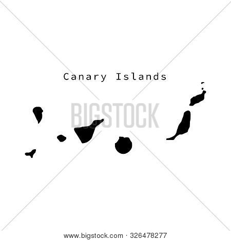 Vector Illustration Of Black Silhouette Canary Islands.