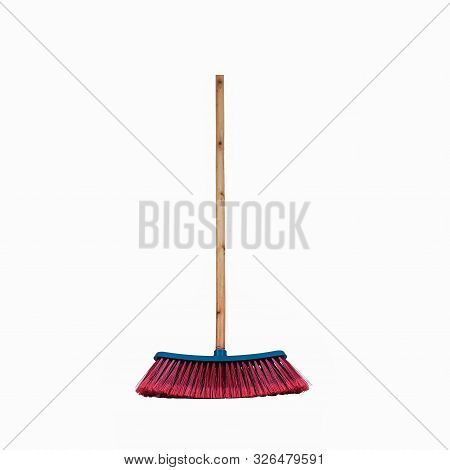 Red And Blue Broom With Wooden Handle Standing Cleaning Hygiene Sweeping Single