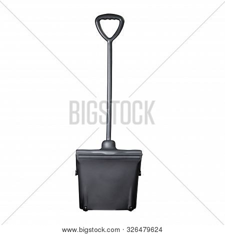 Black Plastic Industrial  Standing Scoops Back And Front View In White Background
