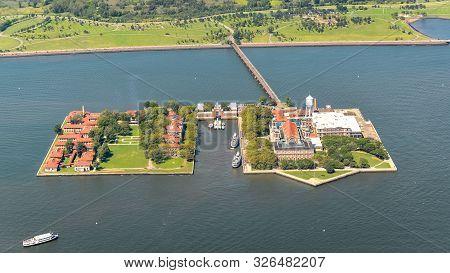 Aerial View Of Ellis Island, Nyc, Usa