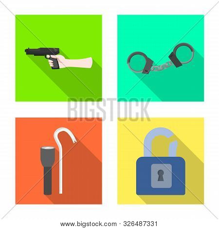 Vector Illustration Of Crime And Steal Symbol. Set Of Crime And Villain Vector Icon For Stock.