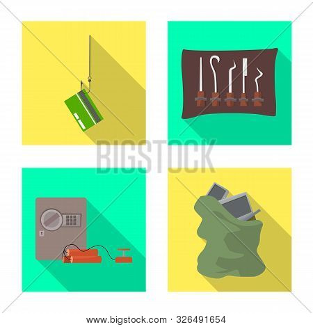 Vector Illustration Of Crime And Steal Icon. Collection Of Crime And Villain Stock Symbol For Web.