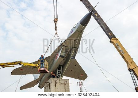 Obninsk, Russia - June 28, 2016: Installation Of The Mig-29 Monument On The Pedestal
